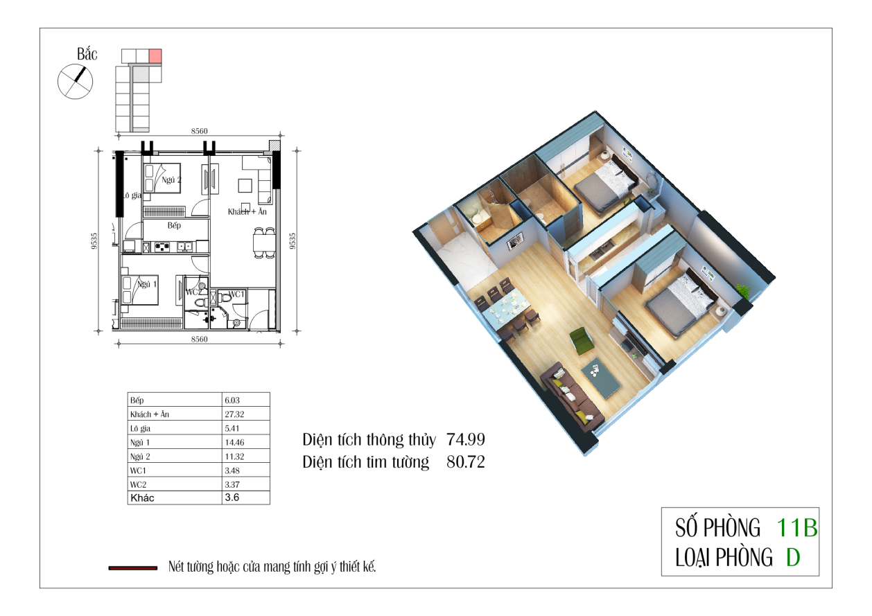 Thiết kế căn D 74,99 m2