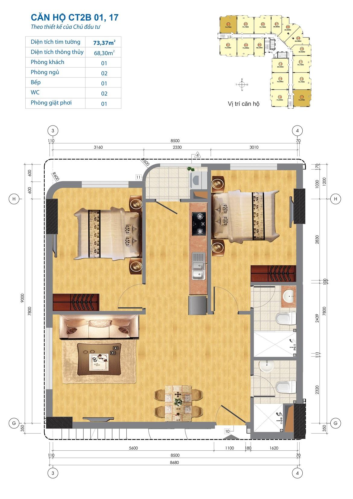 Thiết kế căn hộ CT2B 01, 17 Chung cư CT2B Ngĩa Đô