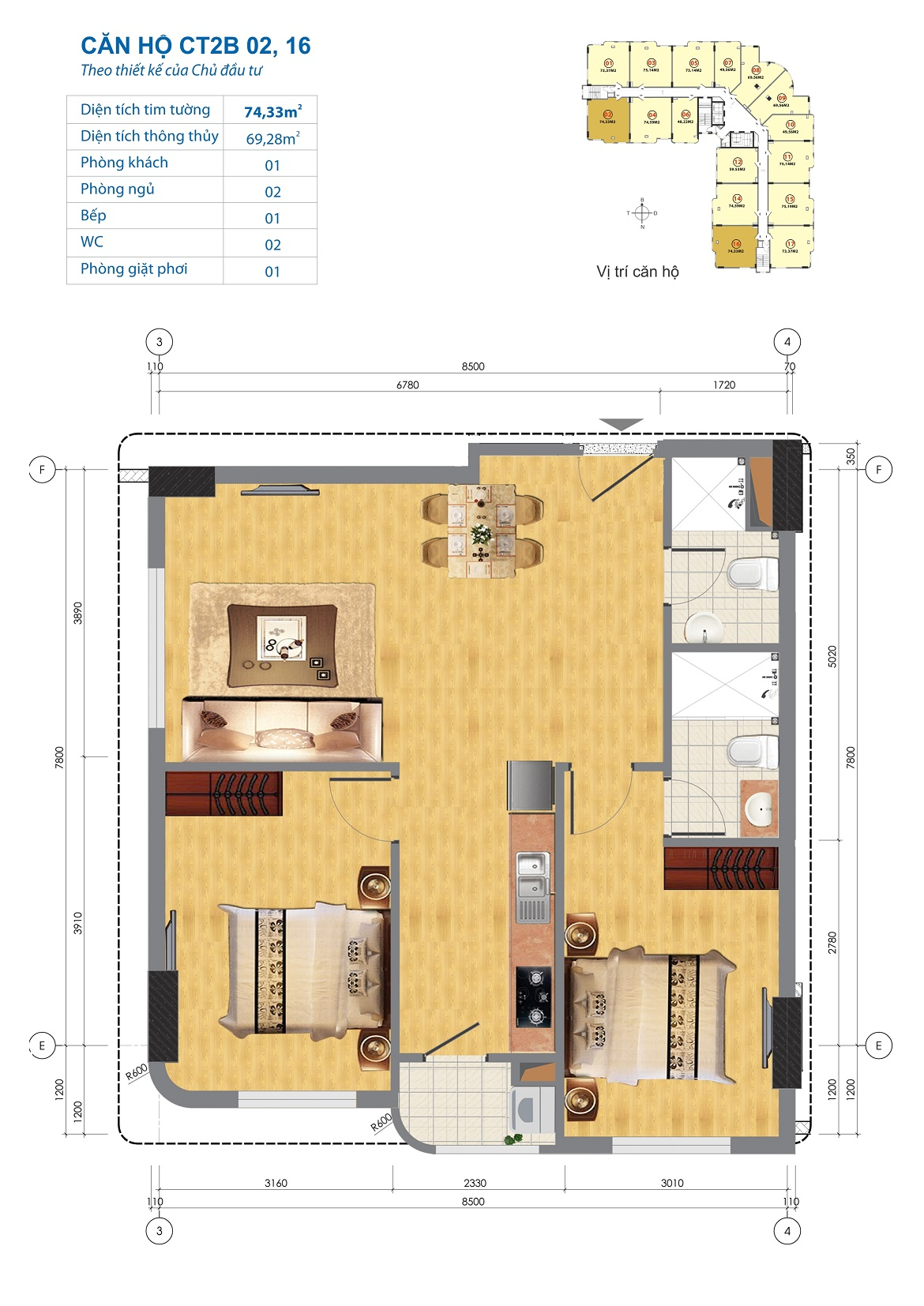 Thiết kế căn hộ CT2B 02, 16 Chung cư CT2B Ngĩa Đô