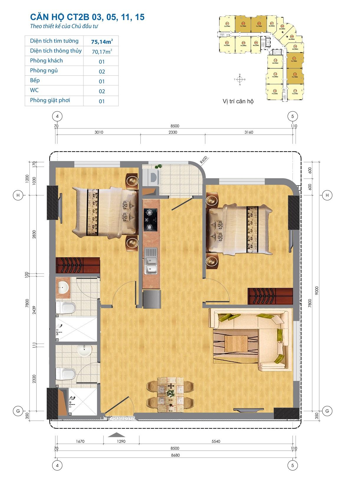 Thiết kế căn hộ CT2B 03, 05, 11, 15 Chung cư CT2B Ngĩa Đô