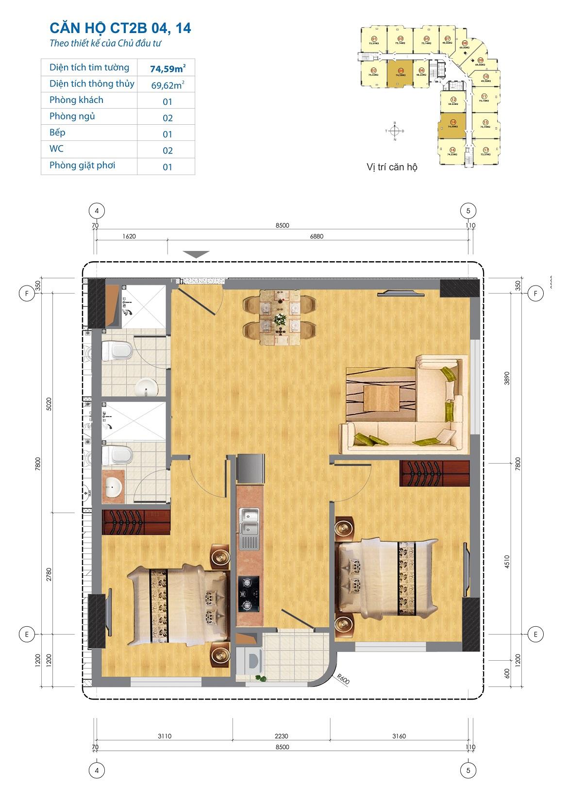 Thiết kế căn hộ CT2B 04, 14 Chung cư CT2B Ngĩa Đô