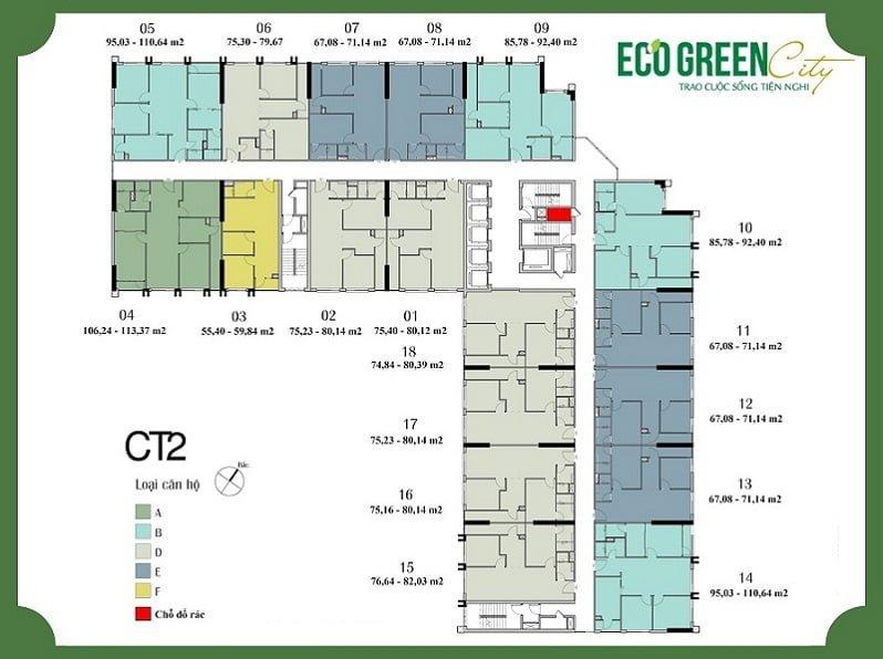 Mặt bằng tòa CT2 chung cư Eco Green City