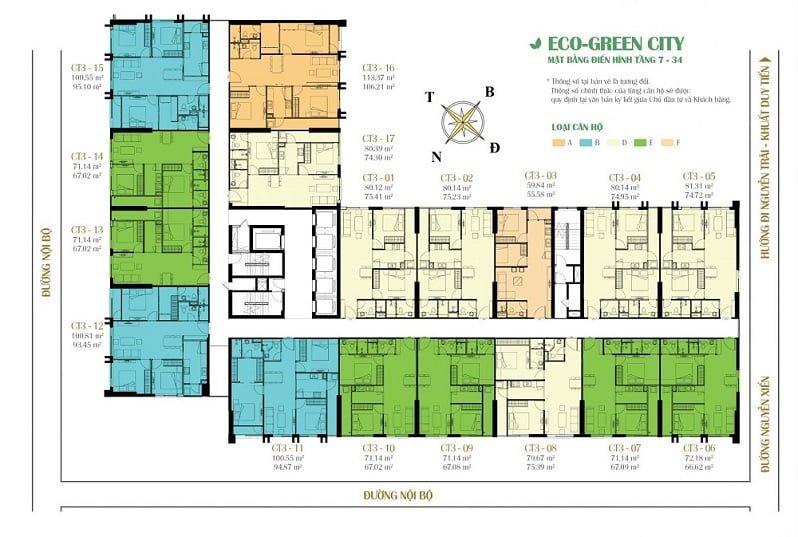 Mặt bằng tòa CT3 chung cư Eco Green City
