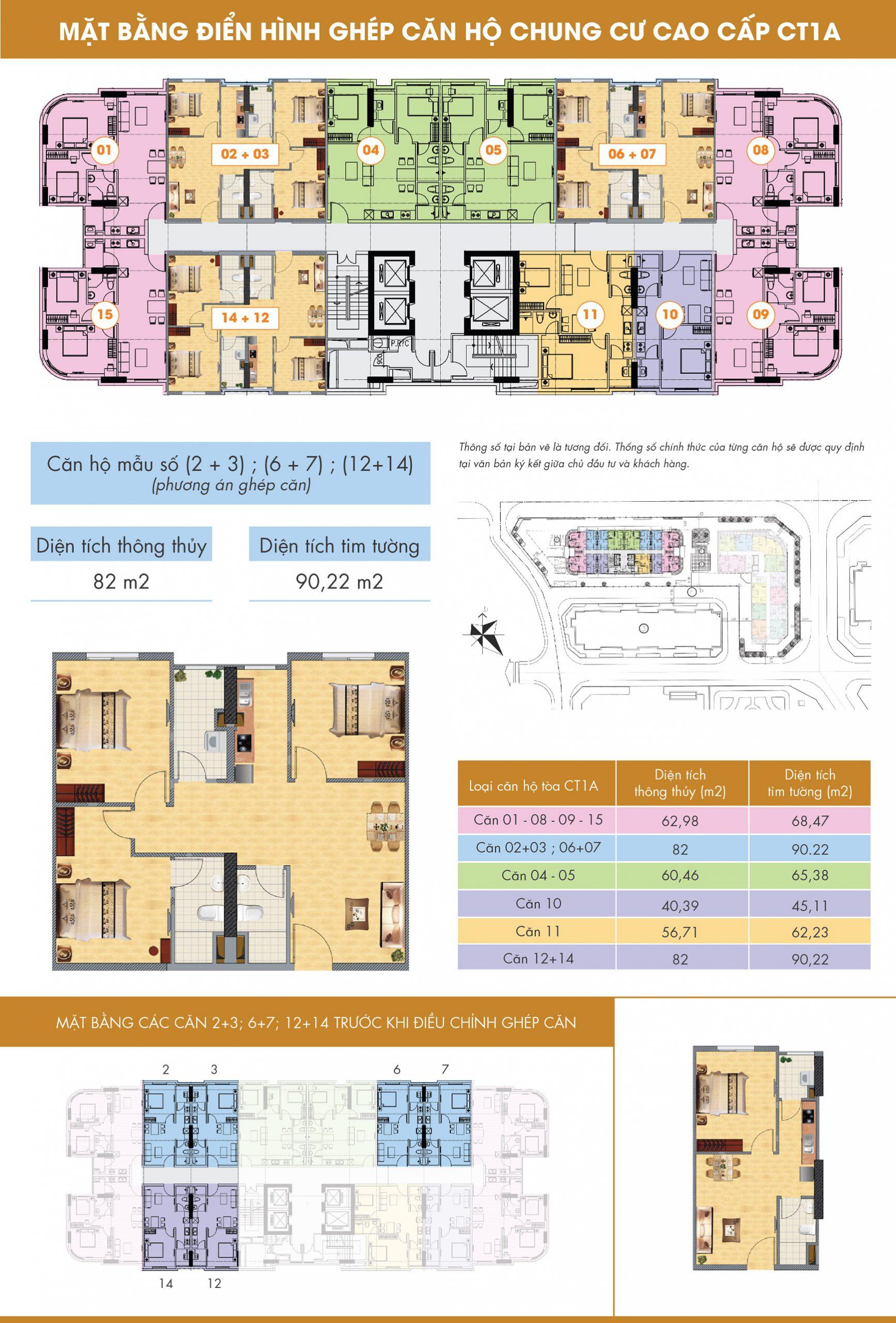 Mặt bằng thiết kế căn hộ ghép chung cư CT1A Nghĩa Đô