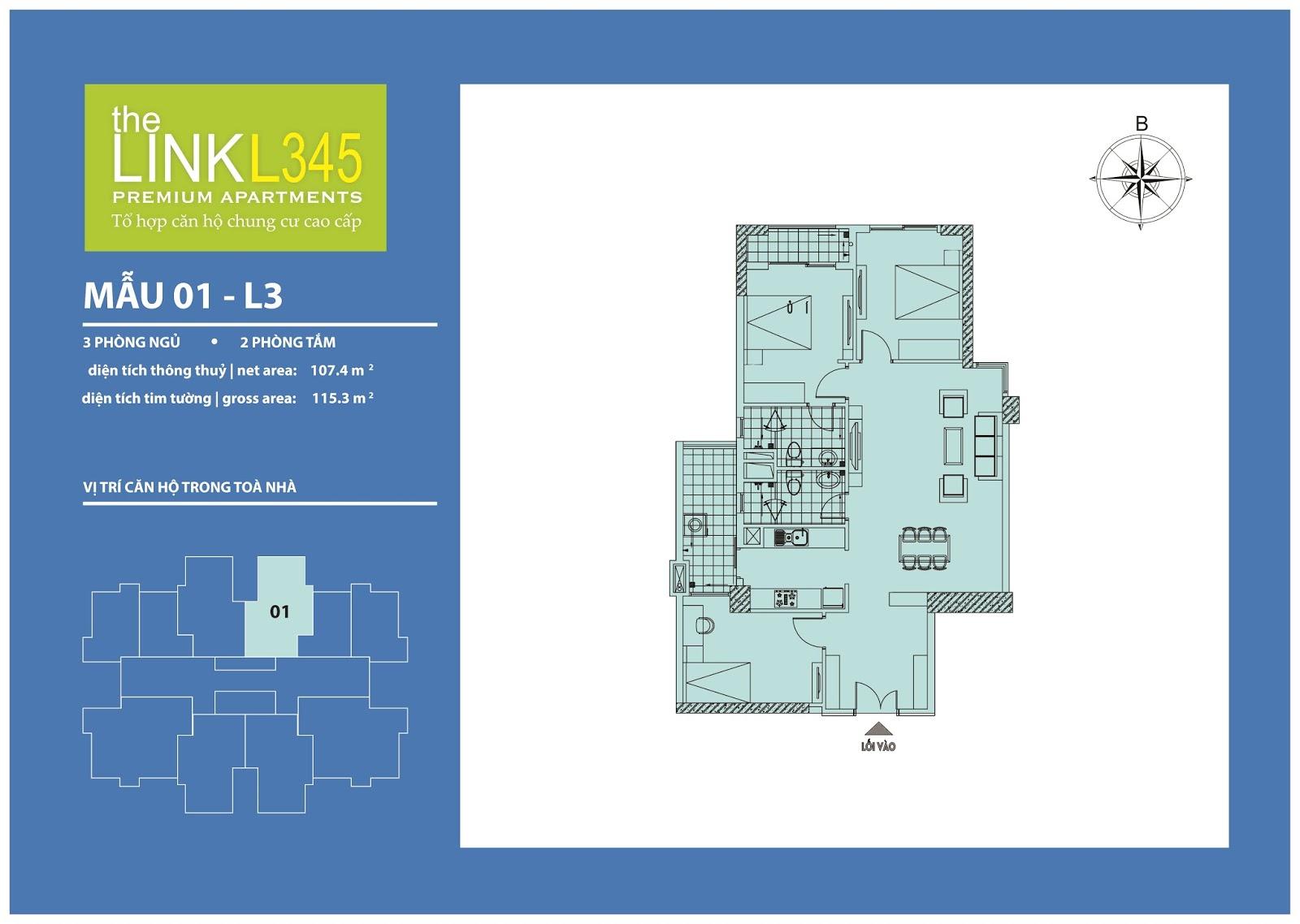 Mặt bằng chi tiết căn hộ 01 - L3 Chung cư The Link 345 Ciputra
