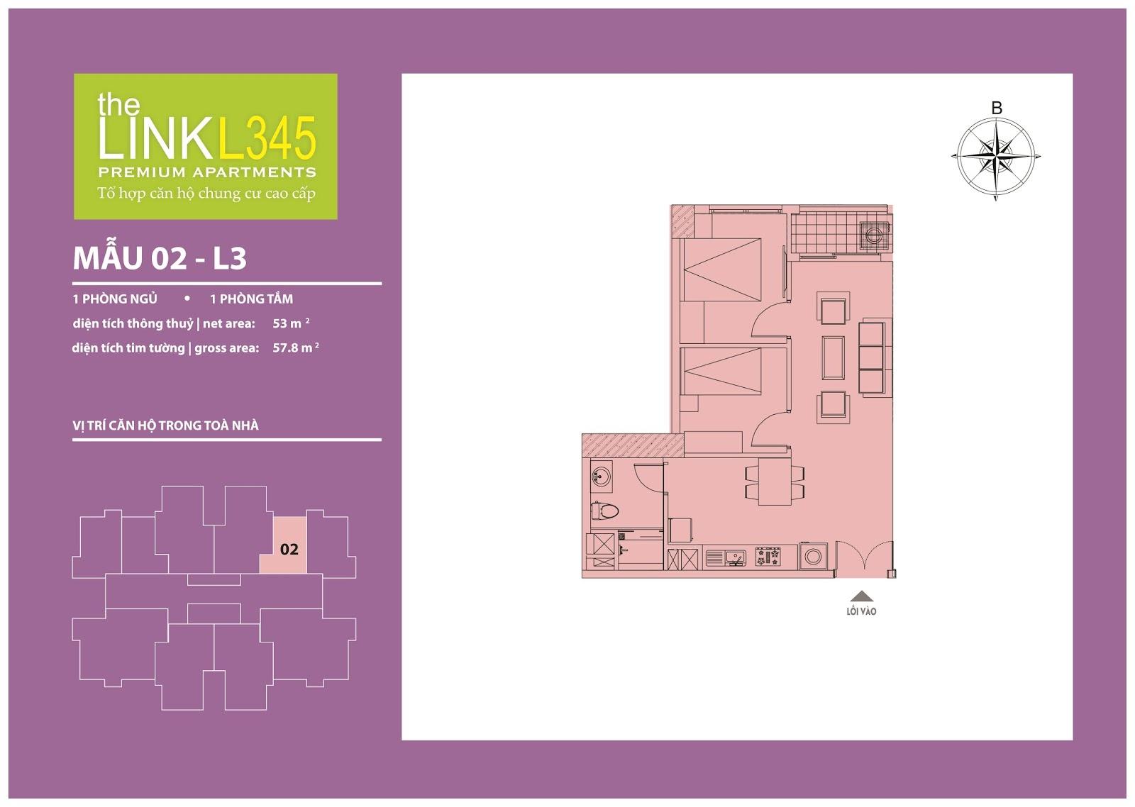 Mặt bằng chi tiết căn hộ 02 - L3 Chung cư The Link 345 Ciputra