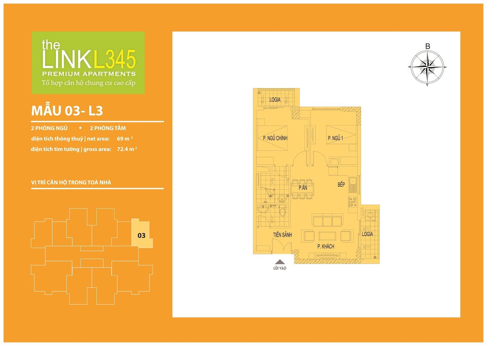 Mặt bằng chi tiết căn hộ 03 - L3 Chung cư The Link 345 Ciputra