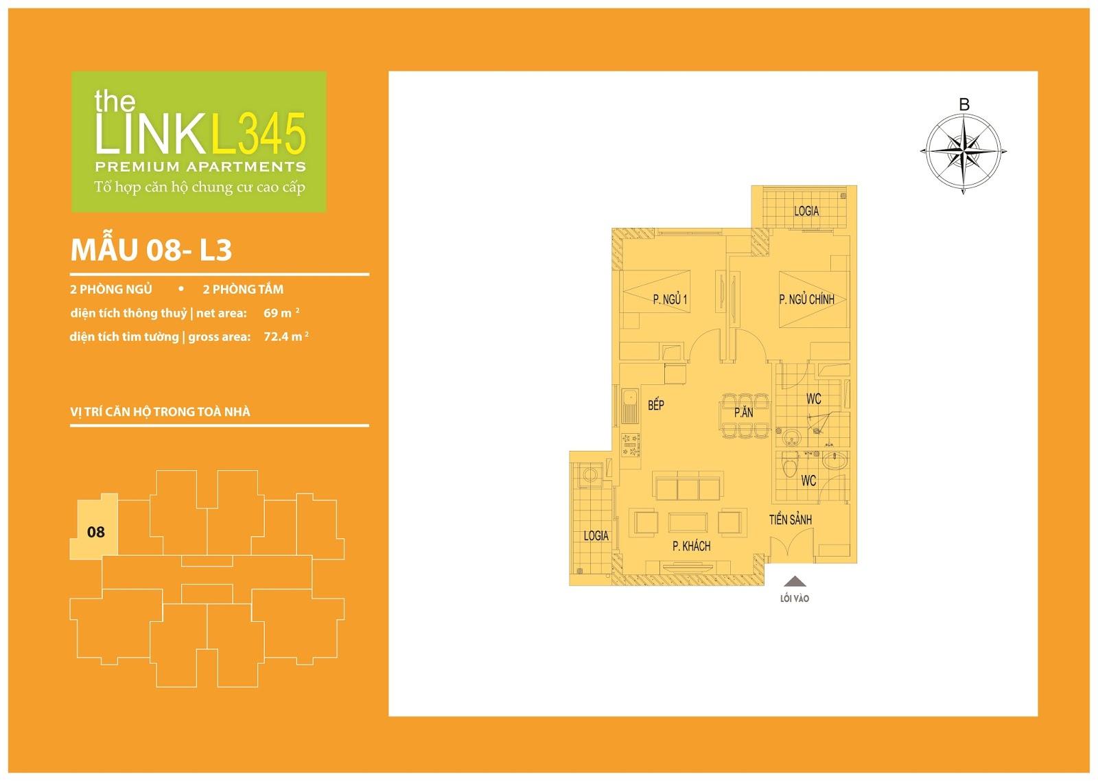 Mặt bằng chi tiết căn hộ 08 - L3