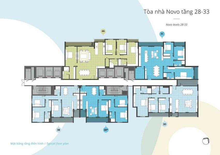 Mặt bằng tòa Novo tầng 28 - 33 chung cư Kosmo Tây Hồ