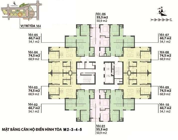 Mặt bằng căn hộ tòa M2 - M5 Mipec Kiến Hưng