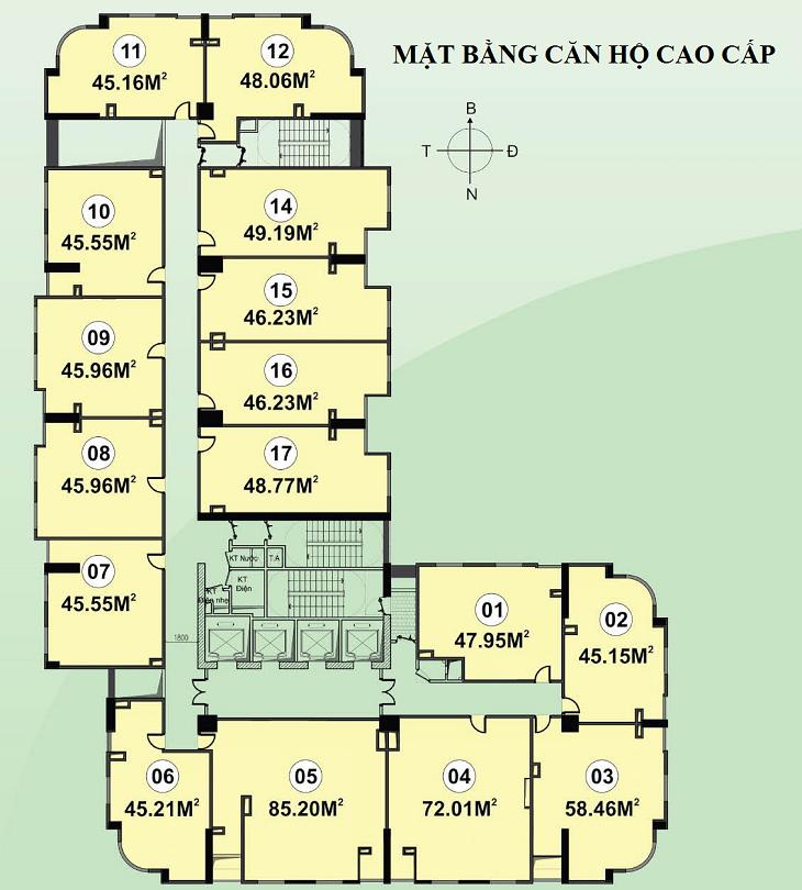 Mặt bằng căn hộ CT1C Nghĩa Đô