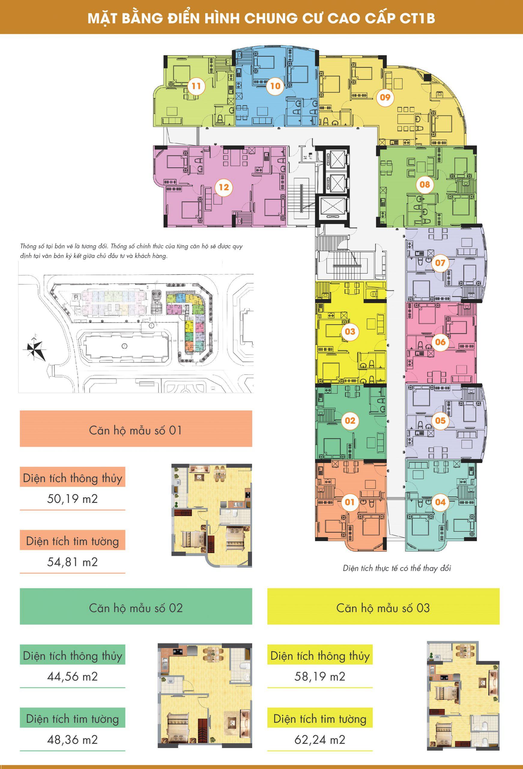 Mặt bằng thiết kế chung cư CT1B Nghĩa Đô