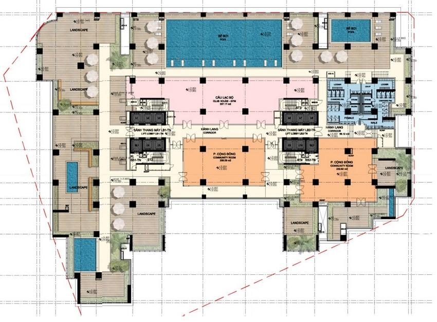 Thiết kế sàn tầng 5 Chung cư BRG Park Residence 25 Lê Văn Lương