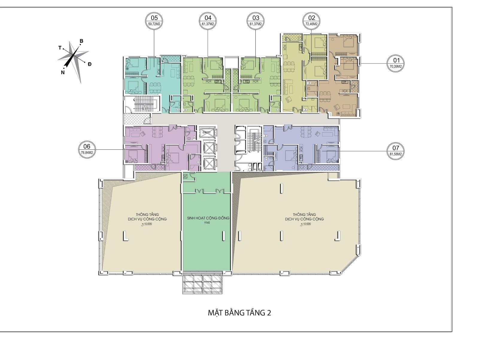 Thiết kế mặt bằng tầng 2 Chung cư Valencia Garden Long Biên