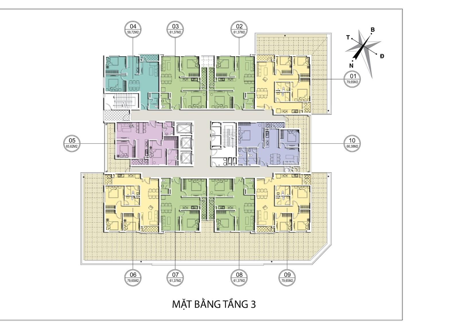 Thiết kế mặt bằng tầng 3 Chung cư Valencia Garden Long Biên