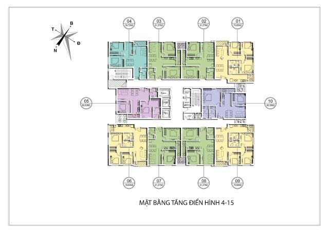 Thiết kế mặt bằng tầng 4 -15 Chung cư Valencia Garden Long Biên