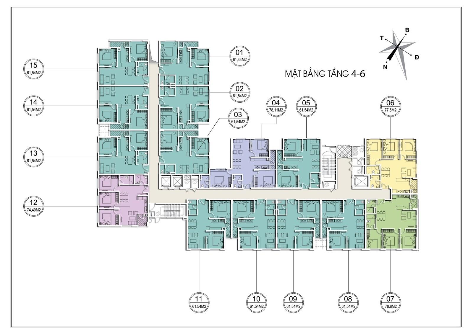 Mặt bằng tầng 4 - 6 Tháp C Chung cư Valencia Garden Long Biên