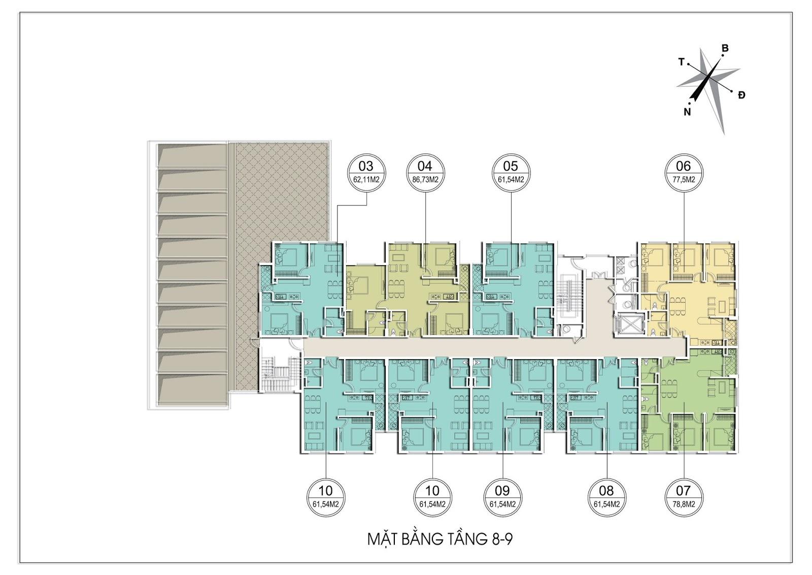 Mặt bằng tầng 8 - 9 Tháp C Chung cư Valencia Garden Long Biên