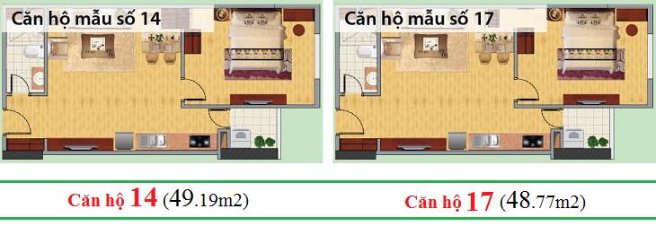 Thiết kế căn hộ 14 - 17 chung cư CT1C Nghĩa Đô