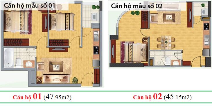 Thiết kế căn hộ 01 - 02 chung cư CT1C Nghĩa Đô