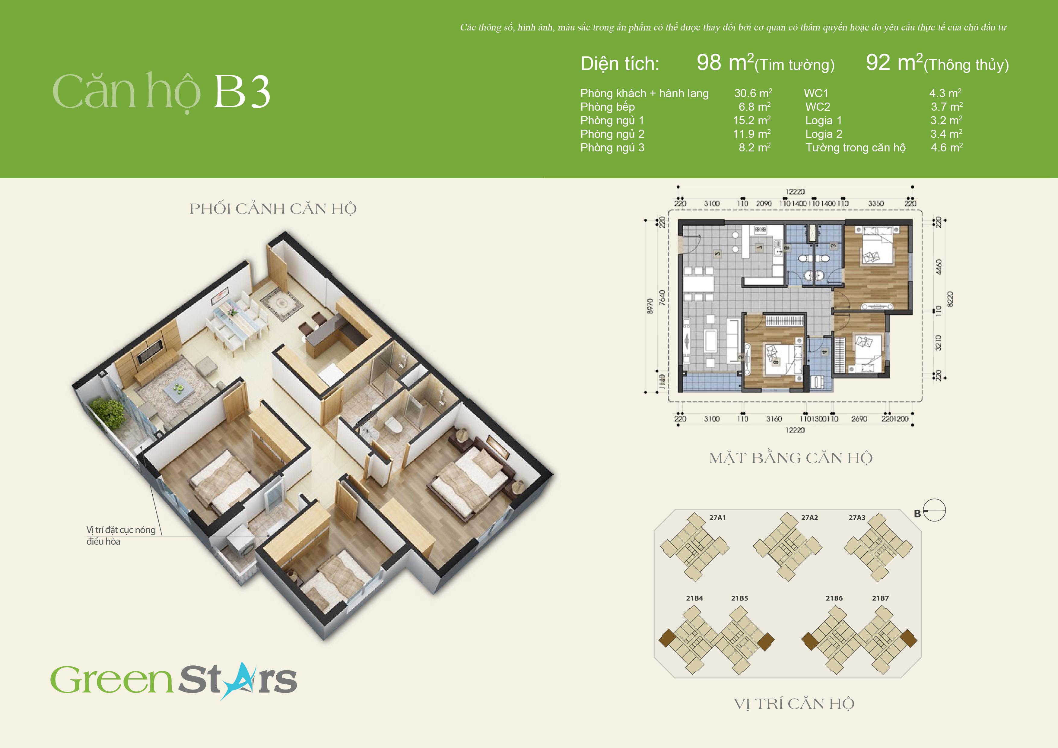Phối cảnh căn hộ B3