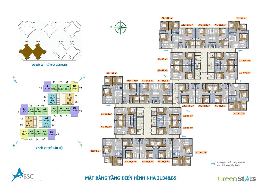 Mặt bằng tầng điển hình nhà 21B4&B5