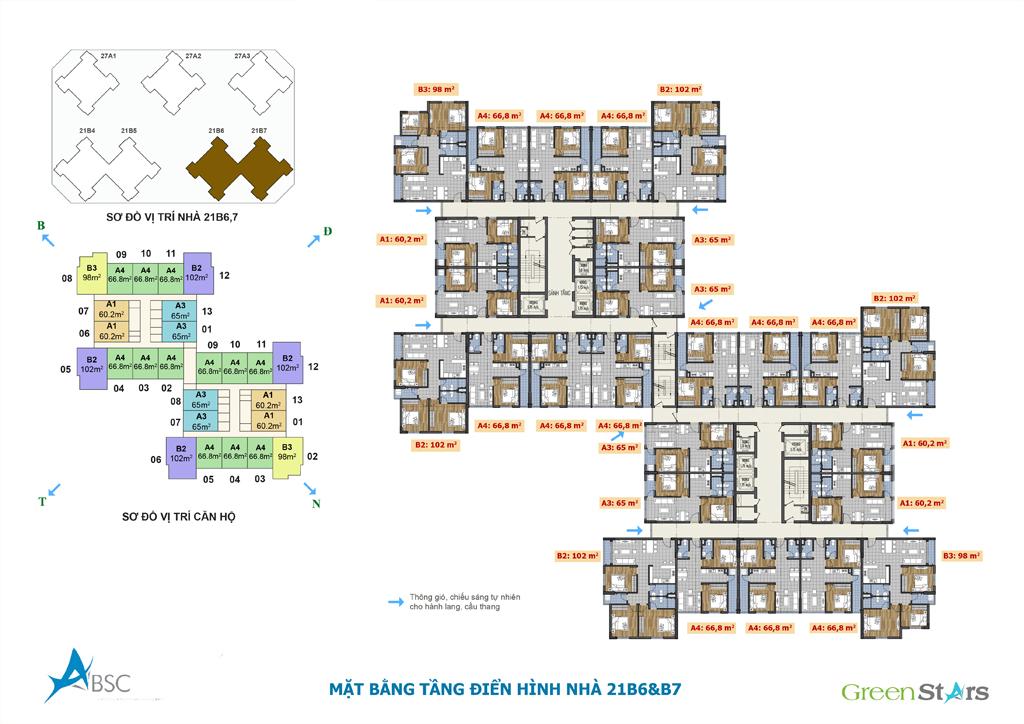 Mặt bằng tầng điển hình nhà 21B6&B7