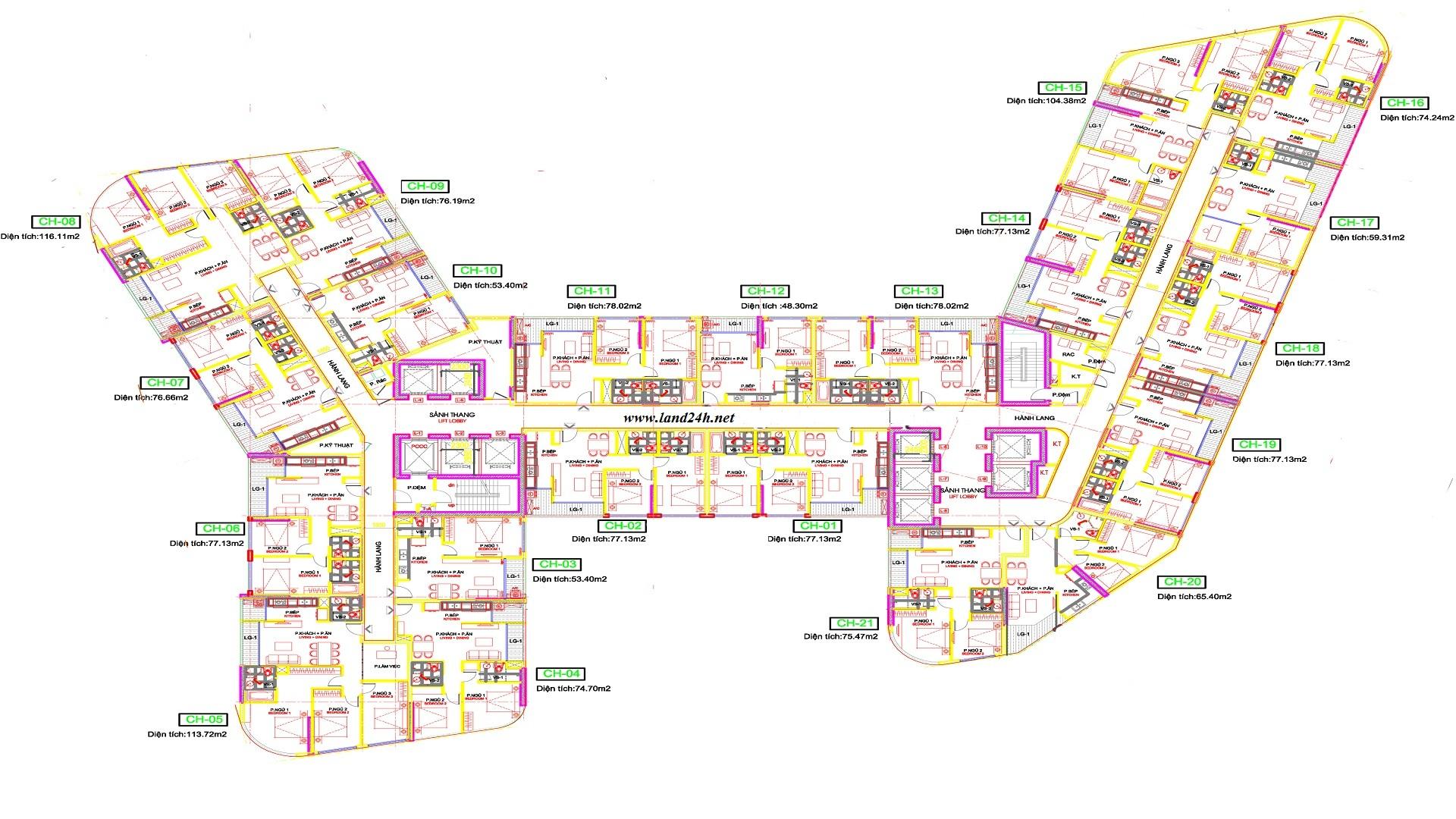 Mặt bằng tổng thể chung cư 273 Tây Sơn
