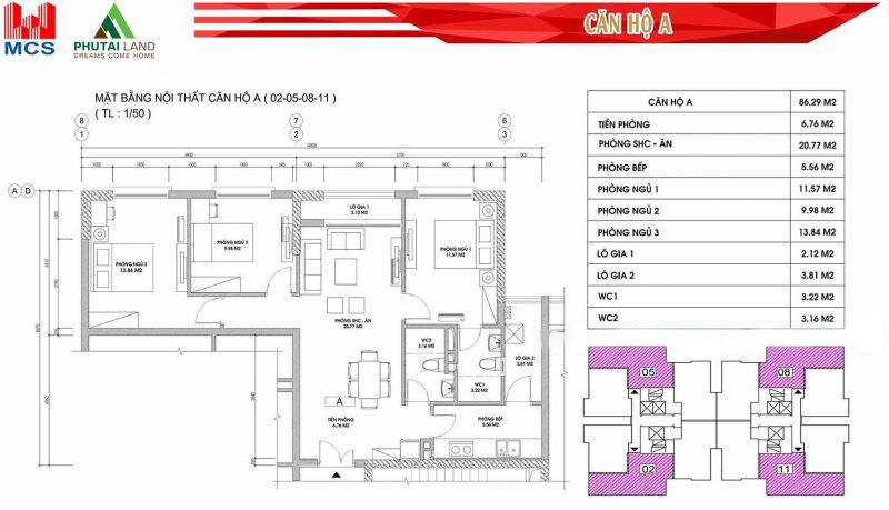 Thiết kế căn hộ A ( Căn số 02 - 05 - 08 - 11)