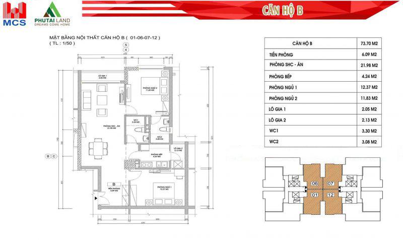 Thiết kế căn hộ B ( Căn số 01 - 06 - 07 - 12)
