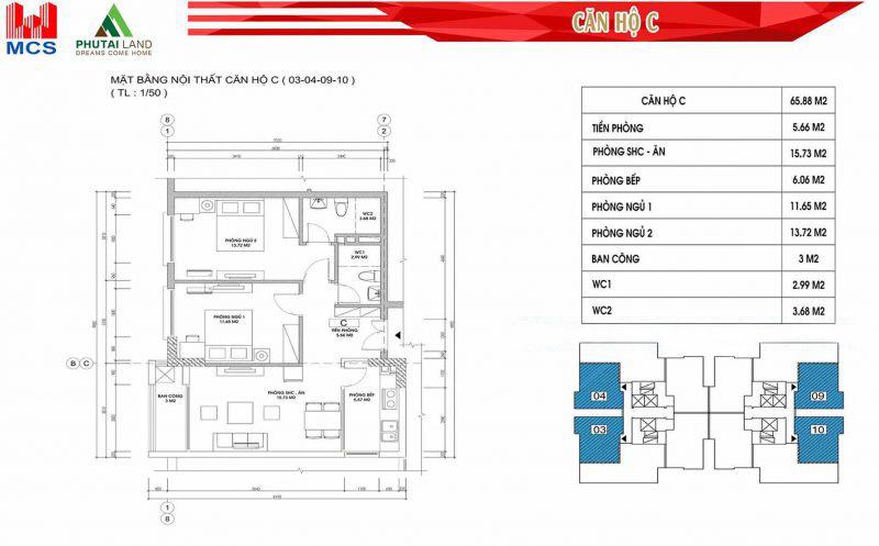 Thiết kế căn hộ C ( Căn số 03 - 04 - 09 - 10)