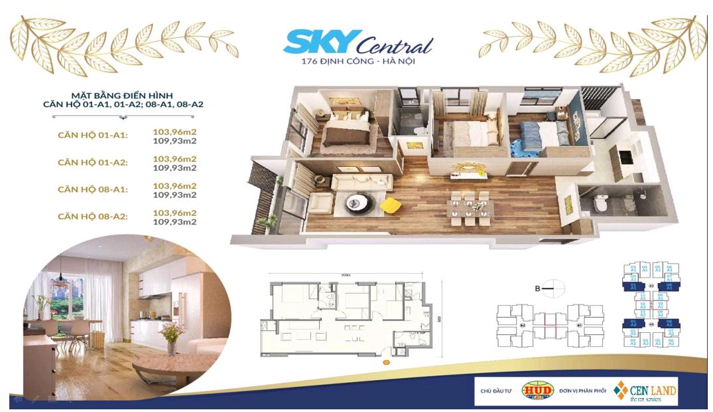 Thiết kế căn hộ 3 ngủ 2 wc Diện tích 103 m2