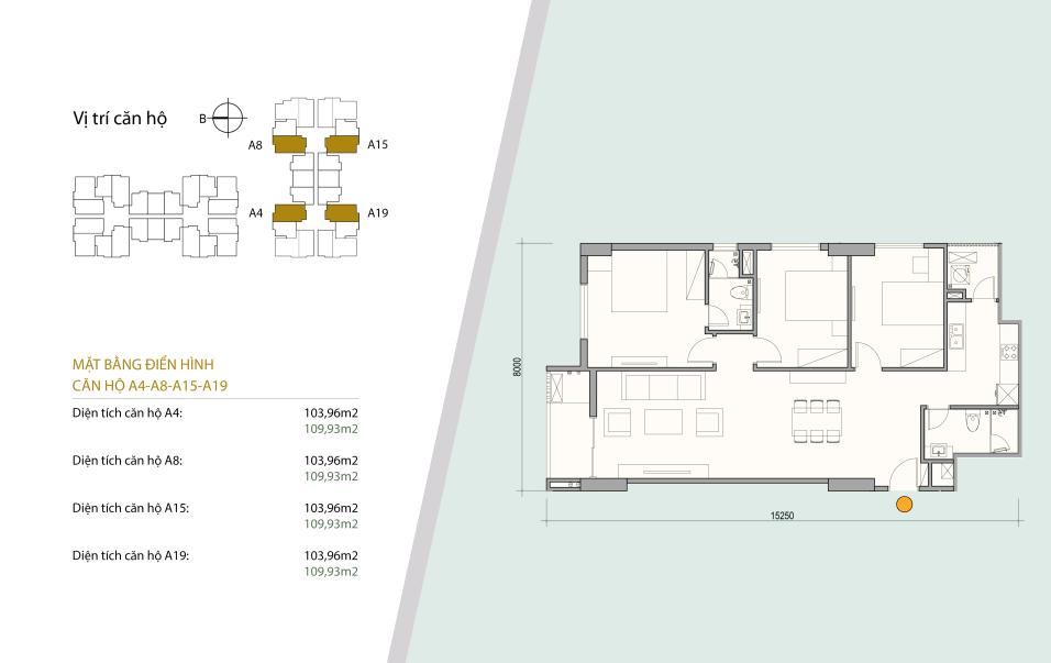Sơ đồ thiết kế căn hộ 01 - 08 gồm 3 ngủ 2 wc. Diện tích 103 m2