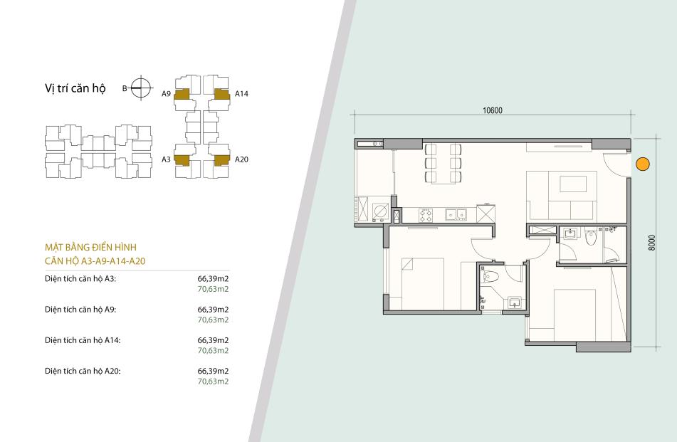 Sơ đồ thiết kế căn hộ số 02 - 07 gồm 2 ngủ 2 wc Diện tích 66,39 m2