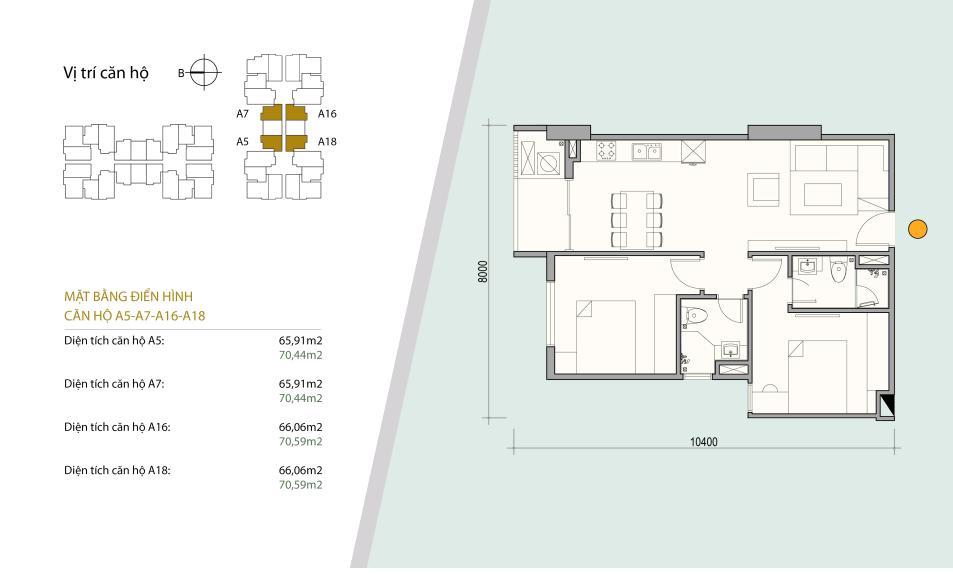 Sơ đồ thiết kế căn hộ số 09 - 11. gồm 2 ngủ 2 wc. Diện tích 65,91 m2