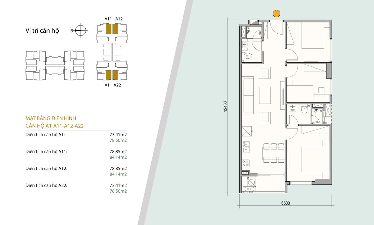Sơ đồ thiết kế căn hộ số 04 - 05 gồm 3 ngủ 2 wc. Diện tích 73 m2 - 78 m2