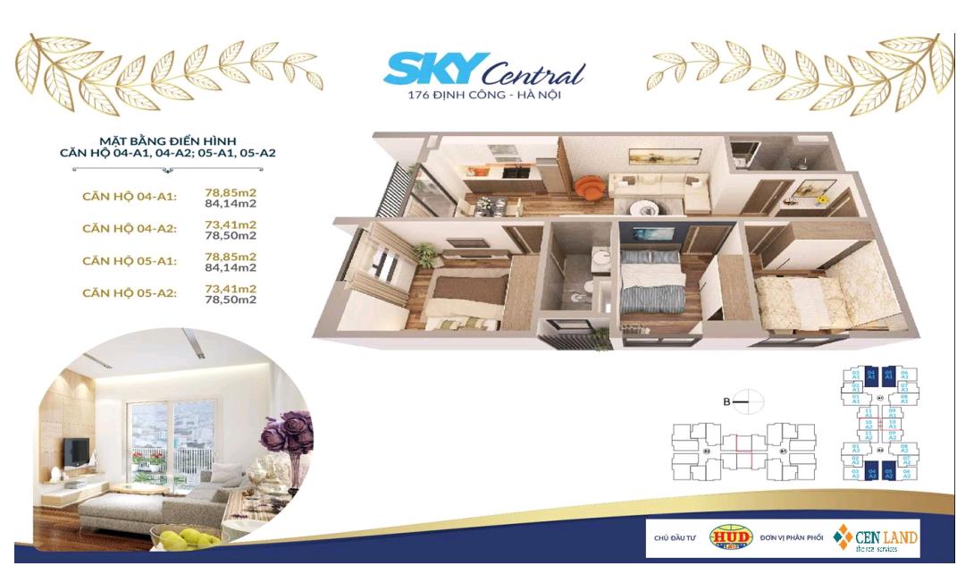 Thiết kế căn hộ 3 ngủ 2 wc Diện tích 73 m2 - 78 m2