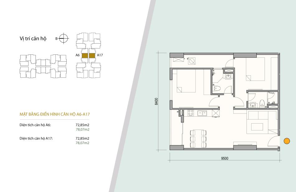 Sơ đồ thiết kế căn số 10 gồm 2 ngủ 2 wc. Diện tích 72,85 m2