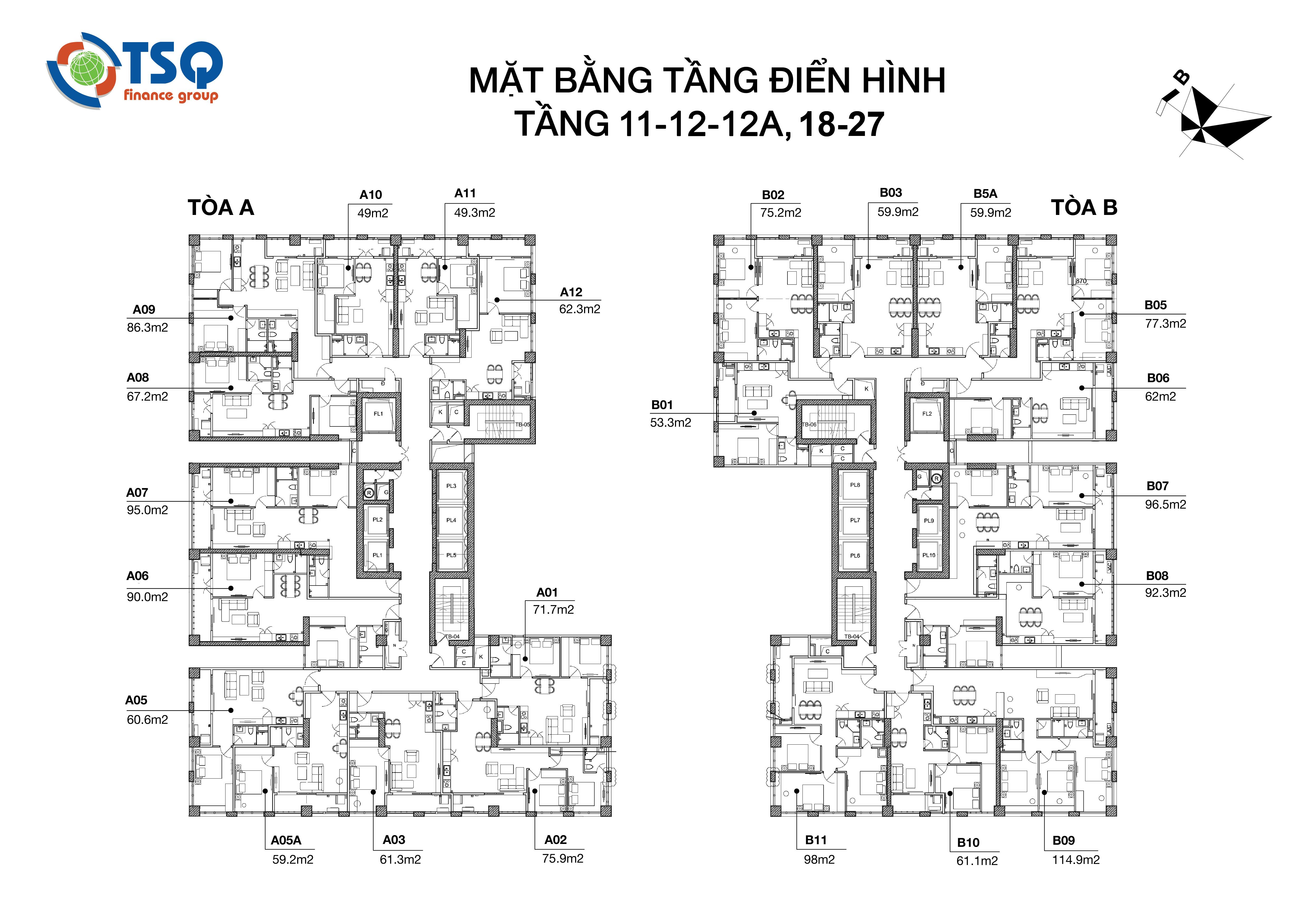 Thiết kế mặt bằng từ tầng 11 – 13; tầng 18 – 27
