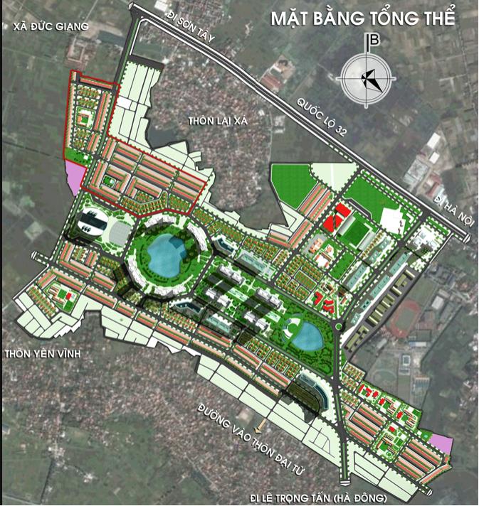 mặt bằng tổng thể khu đô thị kim chung di trạch