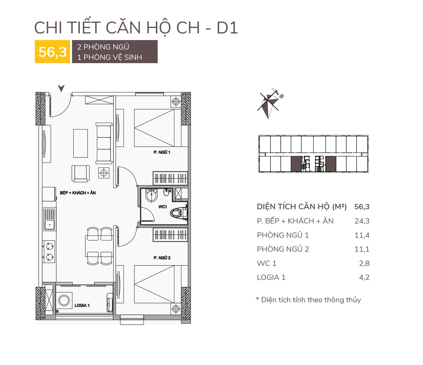Chi tiết căn hộ CH - D1
