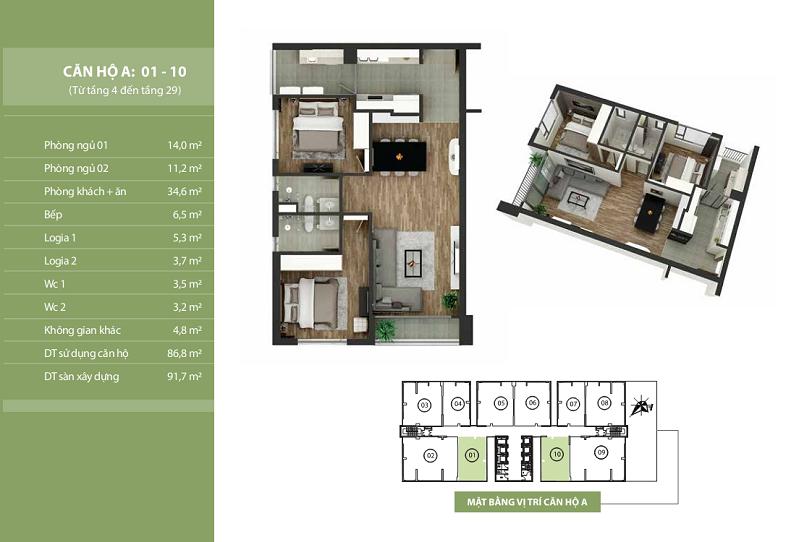 Thiết kế căn hộ A: 01-10 N03T2 Ngoại Giao Đoàn Taseco Complex