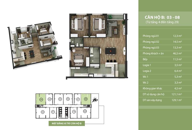 Thiết kế căn hộ B: 03 - 08 N03T2 Ngoại Giao Đoàn Taseco Complex