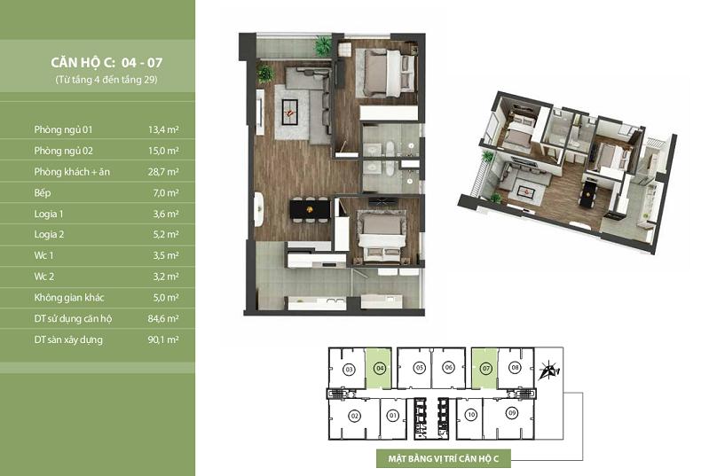 Thiết kế căn hộ C: 04 - 07 N03T2 Ngoại Giao Đoàn Taseco Complex
