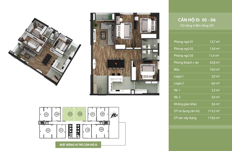 Thiết kế căn hộ D: 05 - 06 N03T2 Ngoại Giao Đoàn Taseco Complex