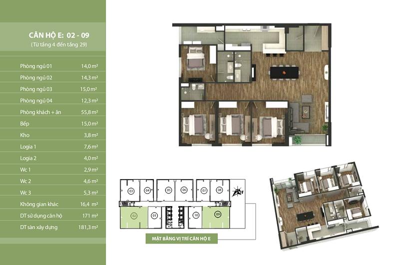 Thiết kế căn hộ E: 02 - 09