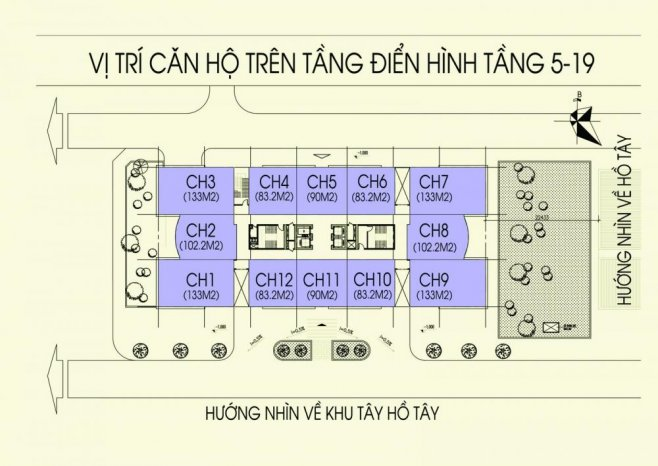 Mặt bằng điển hình tầng 5-19 chung cư N03T5 Ngoại Giao Đoàn