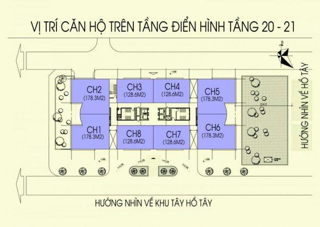 Mặt bằng điển hình tầng 20-21 chung cư N03T5 Ngoại Giao Đoàn
