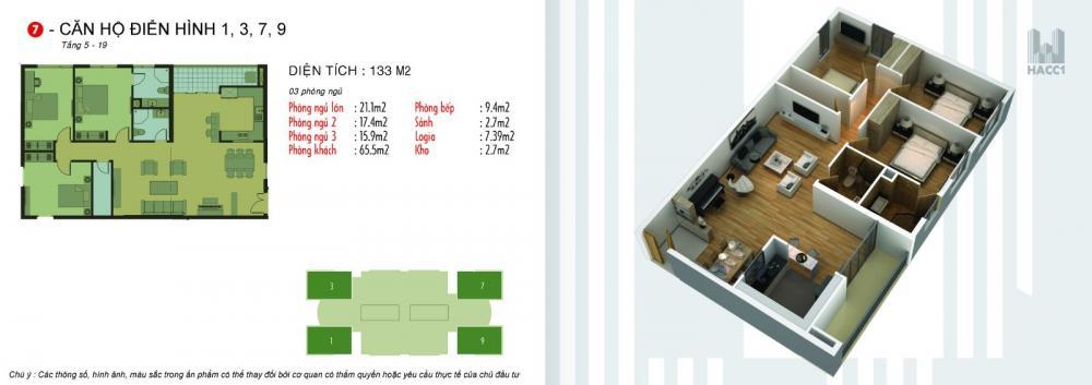 Thiết kế căn hộ 1,3,7,9 chung cư N03T5 Ngoại Giao Đoàn