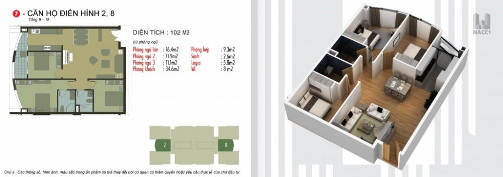 Thiết kế căn hộ 2,8 chung cư N03T5 Ngoại Giao Đoàn
